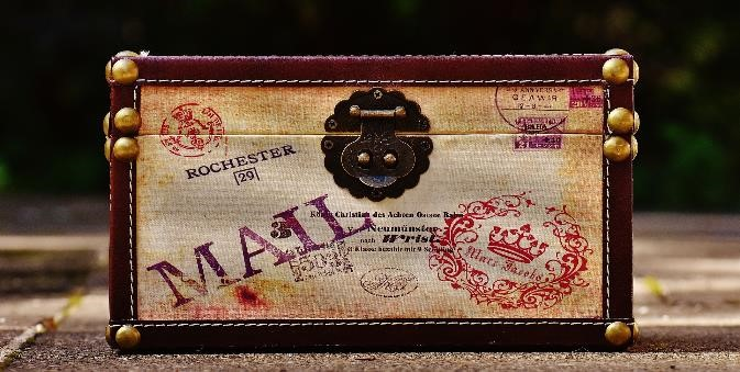 Antique mail chest symbolizes the concept of mail.