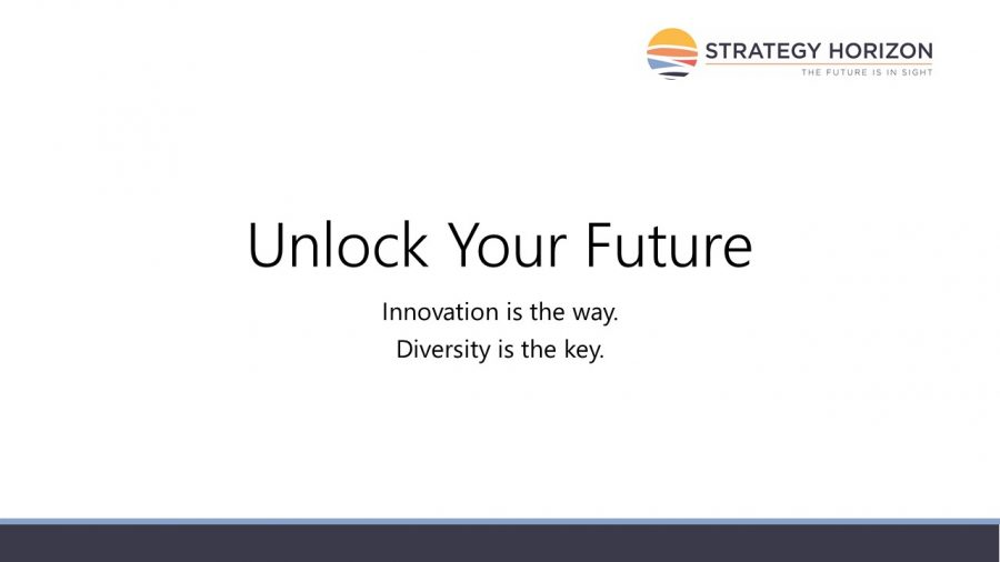 """This cover slide says """"Unlock Your Future"""" with innovation that comes from diversity."""